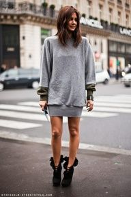 What to wear when all you really want to do is hibernate: A sweater dress and booties.
