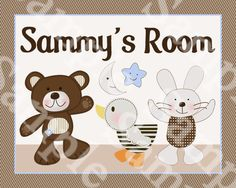 """Personalized """"B is for Bear/Teddy Bear/Duck/Bunny"""" Name 8x10 Art Print So Cute!!"""