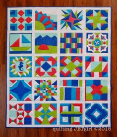 Quilts by Quilting Jetgirl, using blocks from The Quilter's Planner 2016
