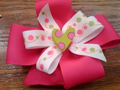 Pink and Green Dots Bow
