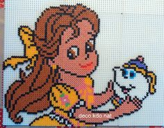 Belle hama perler beads by deco. Hama Beads Disney, Hama Disney, Diy Perler Beads, Hamma Beads 3d, Fuse Beads, Pearler Beads, Fuse Bead Patterns, Perler Patterns, Pixel Crochet Blanket