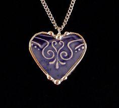 Antique Art Nouveau flow blue broken china jewelry heart pendant necklace