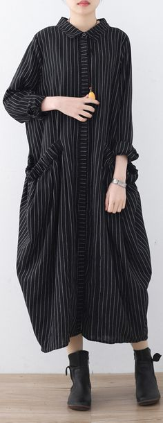 e82ee9eaae black striped cotton dresses oversize big pockets traveling dress boutique  shirt collar gown Boutique Shirts