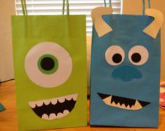 Items similar to Monster Party Favor Bags on Etsy Monster Inc Party, Monster Party Favors, Party Favor Bags, Goodie Bags, Favor Boxes, Treat Bags, Monster University Birthday, Monster Birthday Parties, 3rd Birthday Parties