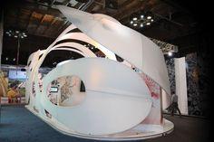 Organic Modular exhibit utilizing tension fabric.
