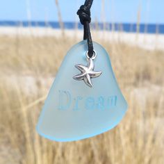 Sea Glass Dreams and Wishes Aqua Starfish Necklace by WaveofLife