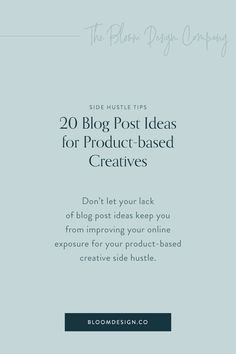 20 Blog Post Ideas for Product-based Creatives | The Bloom Design Company Etsy Business, Business Tips, Online Business, Instagram Marketing Tips, Digital Marketing Strategy, Social Media, Base, How To Plan, Blogging