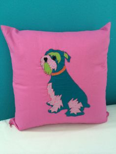 Handmade Dog Applique Cushion Cover Schnauzer