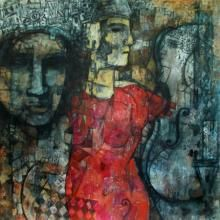 Artist Rupchand Kundu's Music Of Silence 2 Painting Online. Grey acrylic Painting by Rupchand Kundu on Canvas, Figurative based on theme Rupchand Kundu Gallery. Contemporary Artists, Modern Art, Buy Music, Artistic Installation, Indian Paintings, Online Painting, Figure Painting, Indian Art, Original Artwork