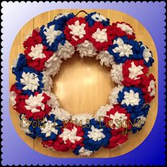 "Brand New ** Independence Day Wreath with Red/Blue/White Handmade Felt Flowers, 16"" *** Gold Lotus Designs ** Custom Handmade Crafts by Kim Lynn ** www.facebook.com/GoldLotusDesigns"