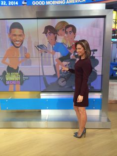 I bought this dress at Theory. Ginger Zee, Female News Anchors, Tv Girls, Great Hairstyles, Good Morning America, Great Legs, Workout Pants, Chic, Gorgeous Women