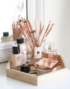17 gorgeous makeup storage ideas | beauty | vanity organization ideas | wooden tray