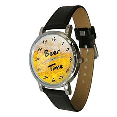 Beer Time Wristwatch  Humor  Gift Watch  Unusual Beer Lovers Gift Genuine Leather Strap >>> You can get more details by clicking on the image. (Note:Amazon affiliate link)