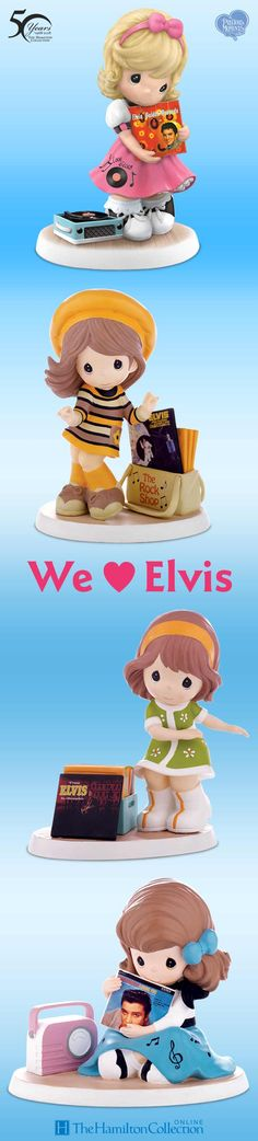 These little ladies have a hunk of burning love for Elvis! Now, celebrate the legacy of Elvis Presley with these Precious Moments cuties. These fan figurines showcase full-color art of Elvis's original album covers in figurine size from many of his most popular albums! It's a show-stopping tribute to the King of Rock 'N' Roll: