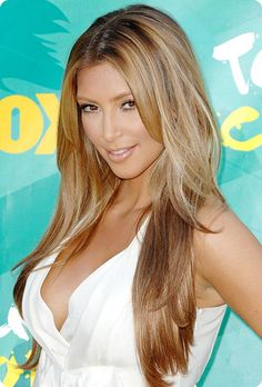 Kim Kardashian dark blonde ombre hair color with cheap human hair extensions clip on