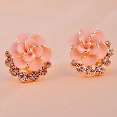Image of Fashion Rhinestone Camellia Earrings&Stud