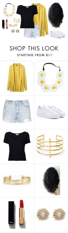 """""""A Sunflower kind of day"""" by shoppingismycardio99 on Polyvore featuring Joules, Topshop, adidas, Frame Denim, BauXo, Stella & Dot and Chanel"""