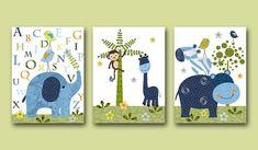 Childrens Art Kids Wall Art Alphabet Nursery Giraffe Nursery Baby Boy Room Decor Baby Boy Nursery Baby Nursery print set of 3 8x10 green