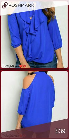❤ Beautiful Ruffled Cold Shoulder Blouse Beautiful Ruffled Cold Shoulder Blouse  This is a Must Have!! Love it ❣️❣️❣️  Features: •Sexy Cold Shoulder Design •Neck Tie •Ruffled Front •Hi-Low Hem •3/4 Sleeves •Beautiful Royal Blue Color  Looks great with Faux Leather Cut-Out Knee Leggings also in my boutique 😊  Color: Royal Blue Fabric: 100% Polyester  Care instructions: Hand Wash Cold • Line Dry  Sorry, No Trades 🚫 Thanks for Sharing!! 😘 Happy Poshing!! 🛍 Tops Blouses