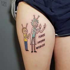 The Monumental Ink Tattoo Artists - Rick and Morty piece done by apprentice Sam…. Tatuaje Rick And Morty, Rick And Morty Tattoo, One Piece Tattoos, Small Tattoos, Tattoos For Guys, Alien Tattoo, Badass Tattoos, Cool Tattoos, Pickle Rick Tattoo