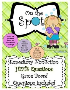 Expository Nonfiction HOTS Questions Game Board Questions Included Works well with ANY nonfiction text
