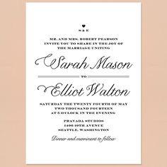"""Brides: An Elegant White Wedding Invitation. """"Rustic Chic"""" invitation, $237 for 100 invitations, Love vs. Design"""