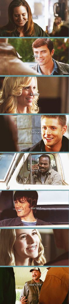 "Supernatural - (gif set) ""And you know heroes aren't meant to survive. Winchester Boys, Winchester Brothers, Impala 67, Emmanuelle Vaugier, Cw Series, Fandoms, Supernatural Fandom, Supernatural Quotes, Two Brothers"