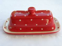 Red and White Polka Dot Butter Dish / Server With Lid & Knob - New, Pottery - USA Made on Etsy, $17.99
