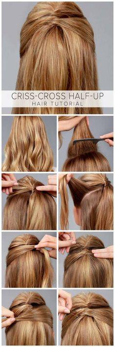 Criss-Cross Half-Up Hair Tutorial - Frisuren Tips Belleza, Down Hairstyles, Amazing Hairstyles, Trendy Hairstyles, Summer Hairstyles, Office Hairstyles, Professional Hairstyles, Easy Hairstyles For Work, Girl Hairstyles