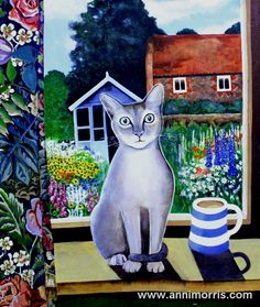 The Guardian - Acrylic  by Anni Morris  www.annimorris.com    Here I combined two things I love cats and flowers.