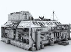 sci-fi factory 3d model max fbx c4d 4