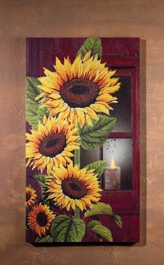 Capture the bright rays of sunflowers and the softer glow of candlelight with this beautifully illustrated light-up canvas art. Corner Drawing, Old Window Frames, Light Up Canvas, Canvas Designs, Arte Floral, Painting Inspiration, Garden Art, Flower Art, Wrapped Canvas