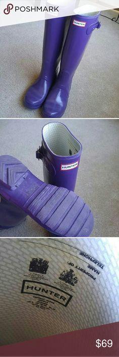 Dark purple hunter boots Size 7, perfect condition worn twice ...