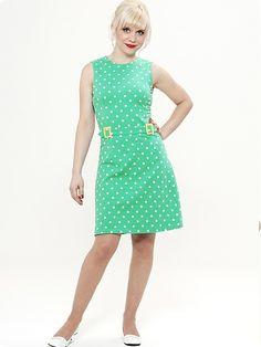 Stacy Dress, mint dots