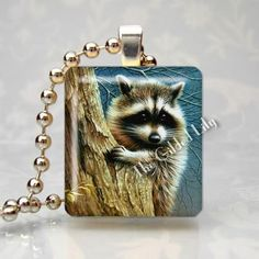 Raccoon in Tree Forest Animal Scrabble Tile Altered Art Pendant Jewelry Charm | eBay