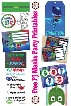 Free PJ Masks Birthday Party Printables | Cupcake toppers, invitations, thank you tags, signs, and more! | Mandy's Party Printables