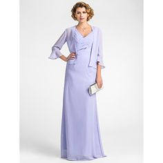 Sheath/Column V-neck Floor-length Chiffon Mother of the Bride Dress With A Wrap – USD $ 148.49