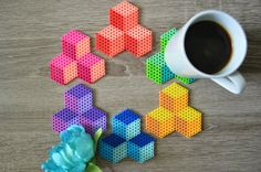 Fuse Bead / Perler Bead Geometric Cube Coasters - Set of 4 - Housewarming Gift