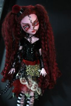 OOAK Monster High Draculaura Art Doll Goth Punk Clown Repaint by Refabrications #Mattel #Dolls