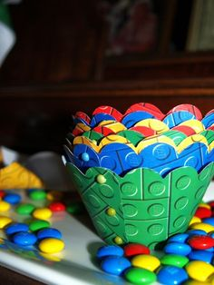 Lego Birthday Party Cupcake Wrappers (free download for lego print and use scrapbook scissors)