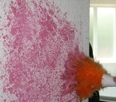 Using a feather duster to paint wall... for an accent wall in the bedroom maybe use this technique with a warm white over top a bright white?