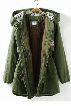 Green Hat Collar Outerwear