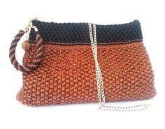 Brick red knitted handbag-Wristlet bag-Evening Clutch-Unique handmade gift