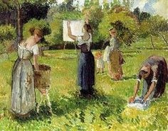 Camille Pissarro (1830-1903) Laundresses at Eragny 1901