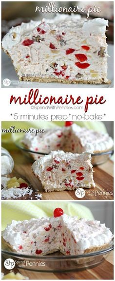 Th Millionaire Pie! This easy pie is one of. Th Millionaire Pie! This easy pie is one of my Millionaire Pie! Th Millionaire Pie! This easy pie is one of my favorite NO BAKE desserts! Low Carb Dessert, Pie Dessert, Dessert Recipes, Cake Recipes, Easy Pie Recipes, No Bake Desert Recipes, Cooking Recipes, Weight Watcher Desserts, Food Cakes