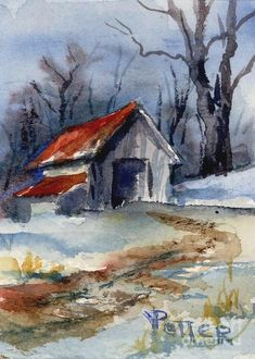 Aceo Painting - Tractor Shed In Winter Aceo by Virginia Potter