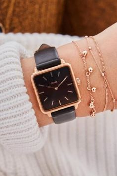 CLUSE ženski satovi i nakit Black Gold Jewelry, Rose Gold Watches, Bracelet Cuir, Rose Gold Color, Colour Black, Watch Model, Gold Fashion, Fashion Watches, Pink And Gold