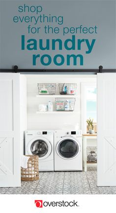Laundry Room Home Goods : Overstock - Your Home Goods Store! Laundry Shelves, Laundry Cabinets, Kitchen Cabinetry, Canvas Laundry Hamper, Comforter Storage, Home Goods Store, Laundry Room Design, Laundry Rooms, Laundry Tips