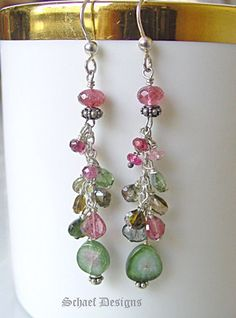 Watermelon and Shaded Tourmaline Sterling Silver Dangle Earrings