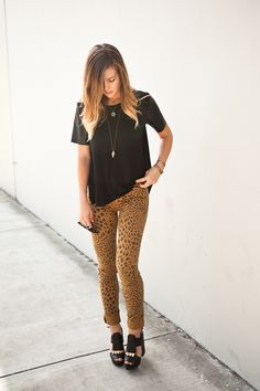 Michelle from Take Aim in the Second Skin Jeans in Leopard (http://www.nastygal.com/product/second-skin-jeans-leopard)